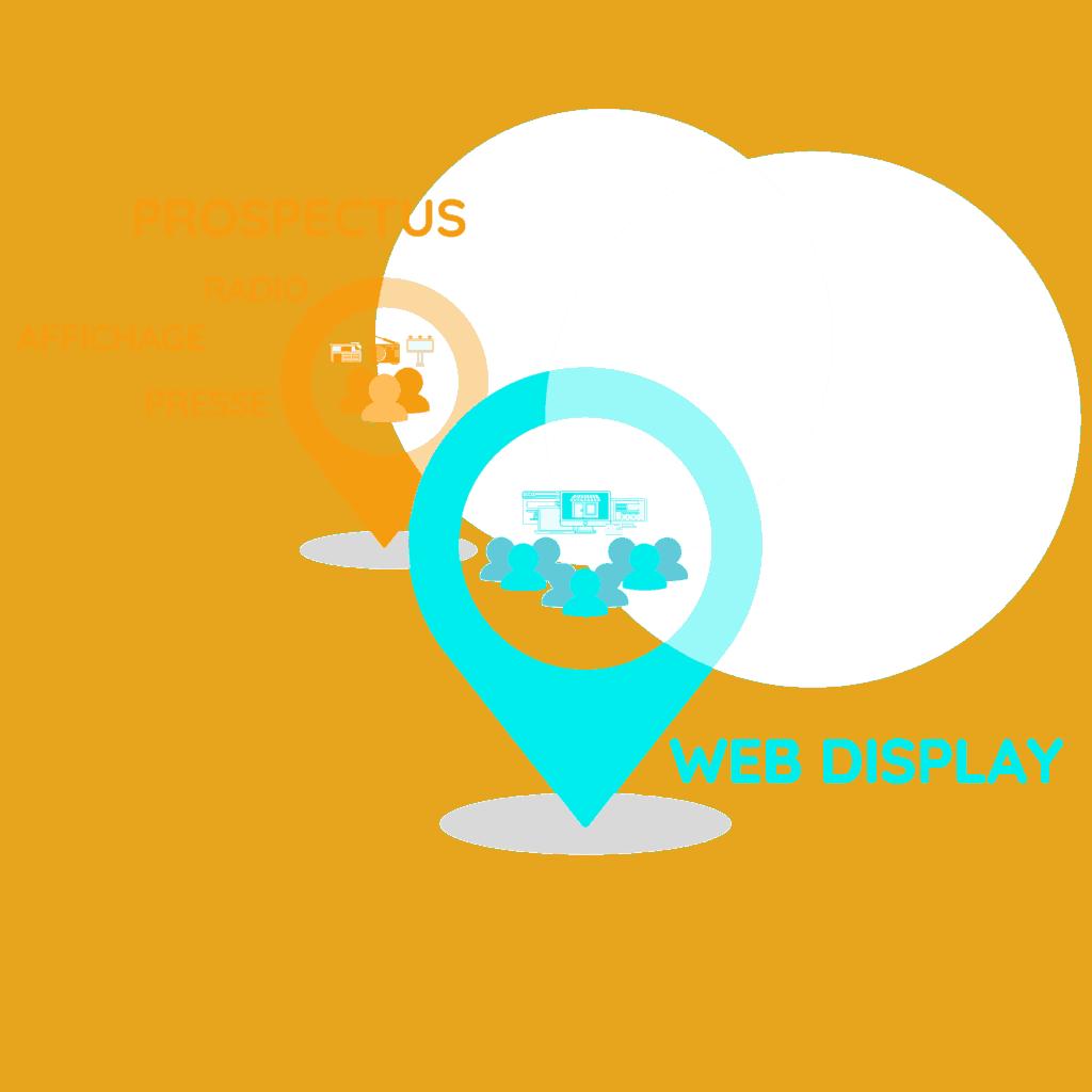 Illustration représentant deux pointeurs de localisation, le premier et plus petit symbolise les média classique, prospectus, radio, presse, affichage, le deuxième plus grand symbolise le web display, programmtic qui permet d'améliorer considérablement le ciblage de sa communication.