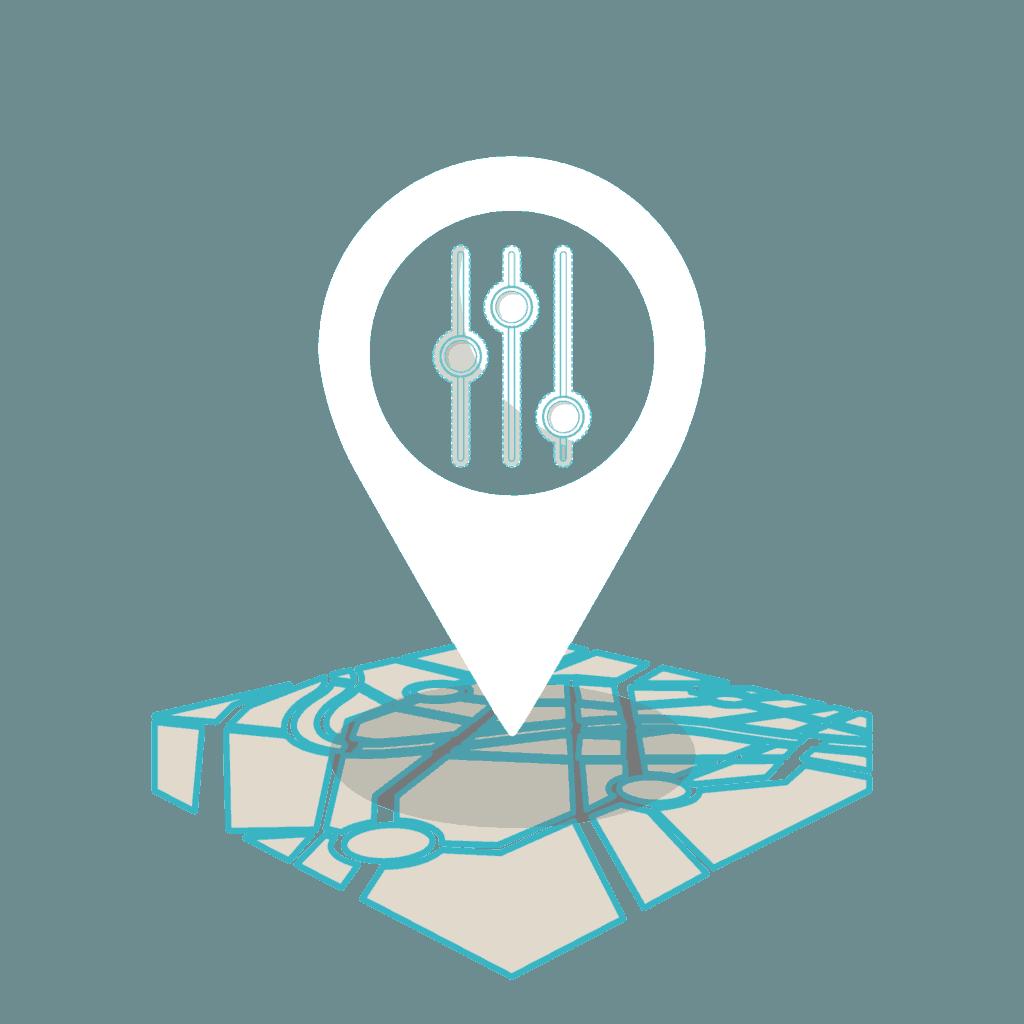 Illustration représentant le principe de la localisation ajustable dans les fonctionnalités de notre offre ad4 food.