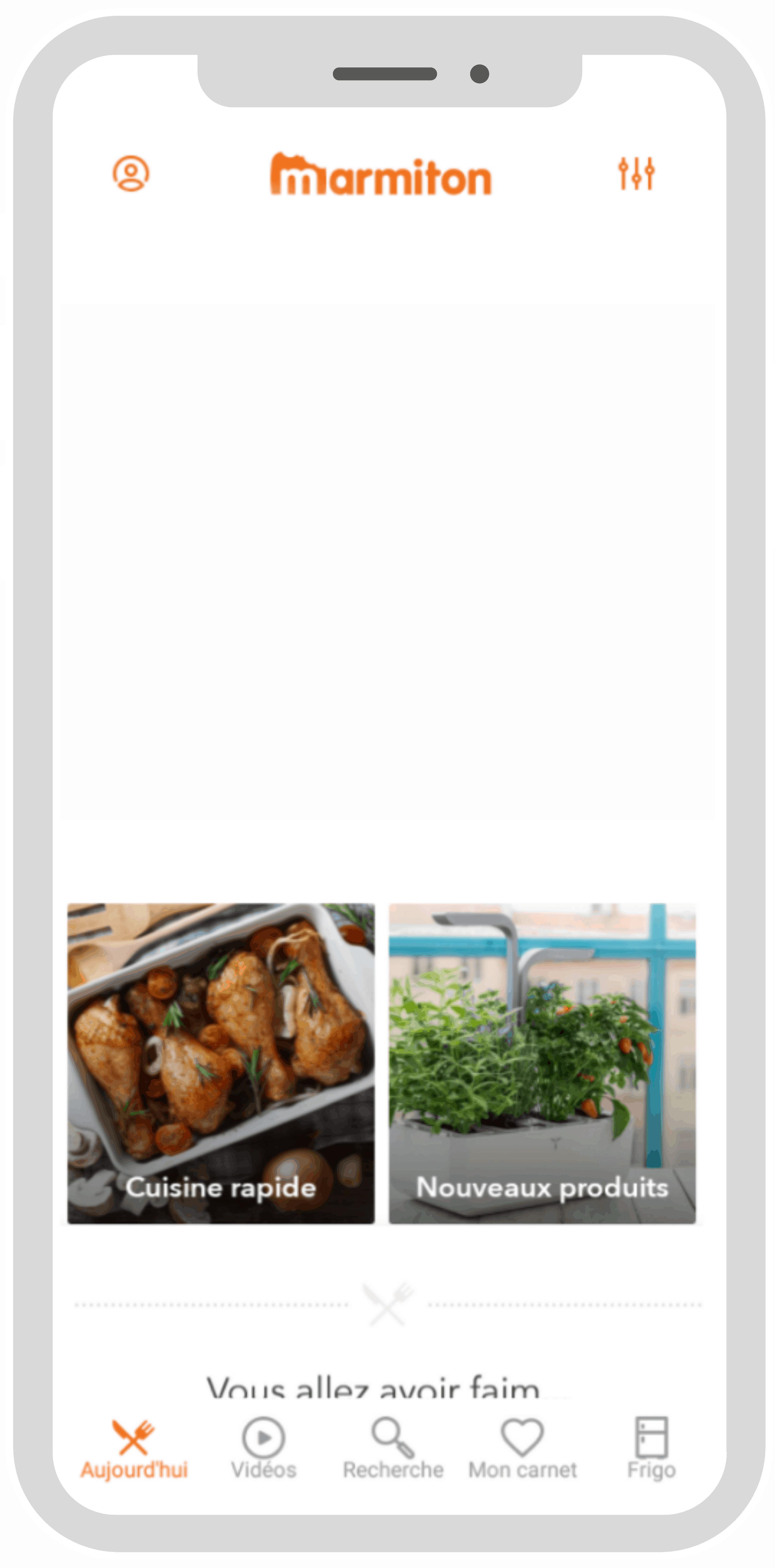 Illustration d'un smartphone présentant l'application de conseils culinaires marmiton dans laquelle des créations ad4food défilent.